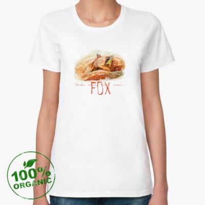 Женская футболка из органик-хлопка Лиса под снегом