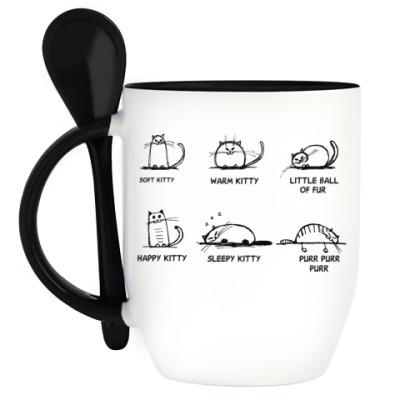 Кружка с ложкой Песня Шелдона про котенка