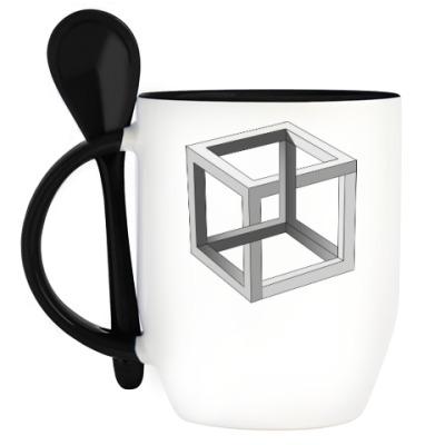 Кружка с ложкой Невозможный Куб 3D
