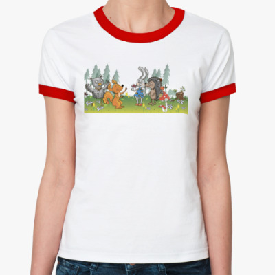 Женская футболка Ringer-T Лесные зверята