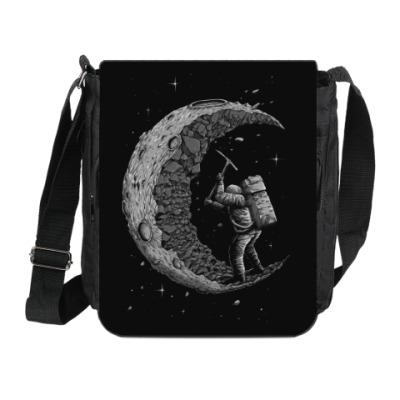 Сумка на плечо (мини-планшет) Moon worker космонавт на луне