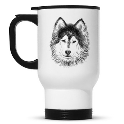 Кружка-термос  Собака хаски карандаш