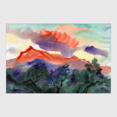 Постер Алое облако (Облако и гора, акварельный пейзаж)