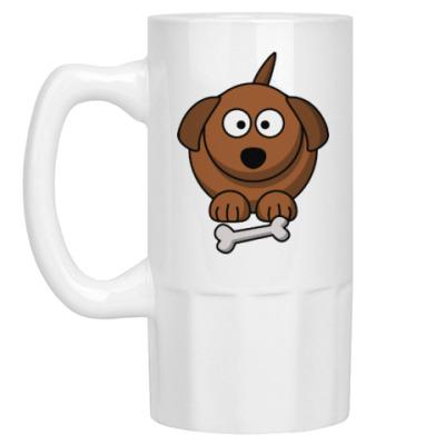 Пивная кружка Собачка с косточкой