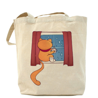 Сумка Кот. Чай. Дождь за окном
