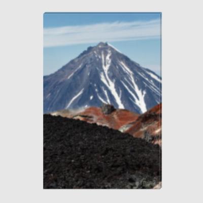 Холст Вулканы, летний пейзаж полуострова Камчатка