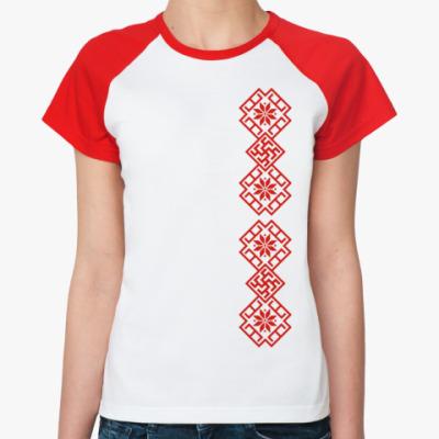Женская футболка реглан Славянский орнамент