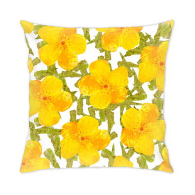 Подушка цветы и листья