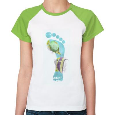 Женская футболка реглан Footprints/След на песке