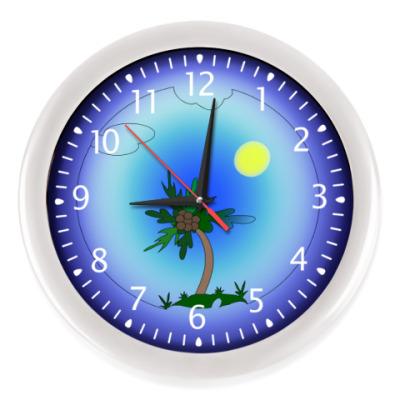 Настенные часы Пальма в море