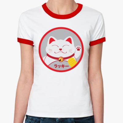 Женская футболка Ringer-T Lucky Cat