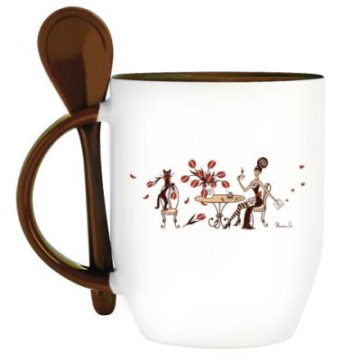Кружка с ложкой Кофейная Весна