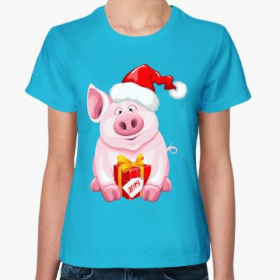 Женская футболка Новогодняя Свинка 2019