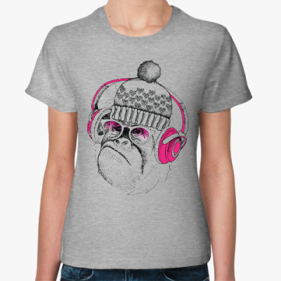 Женская футболка Новогодняя смешная обезьянка