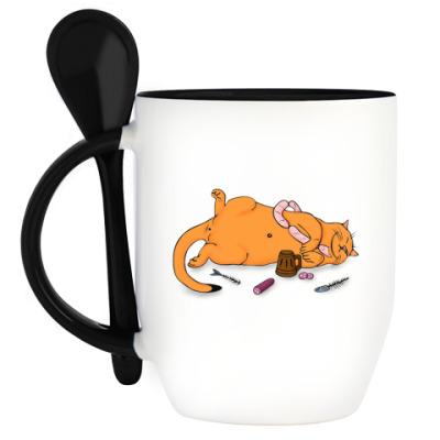 Кружка с ложкой 'Сытый кот'