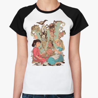 Женская футболка реглан Wonderland Alice and Chihiro