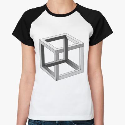 Женская футболка реглан Невозможный Куб 3D