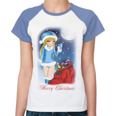 Женская футболка реглан Merry Christmas