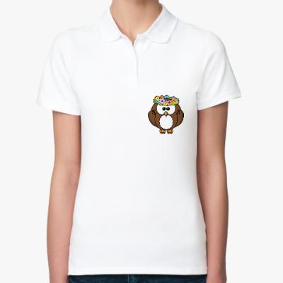 Женская рубашка поло Сова с цветами