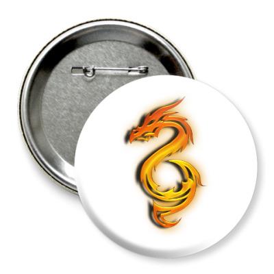 Значок 75мм Огненный дракон
