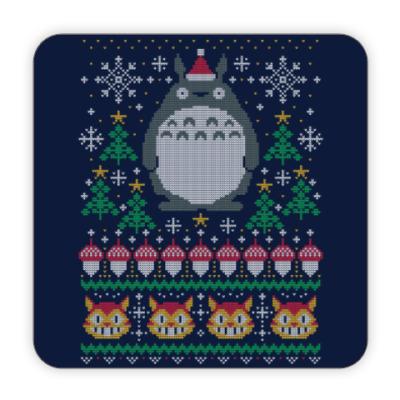 Костер (подставка под кружку) Новогодний Тоторо и кот Totoro