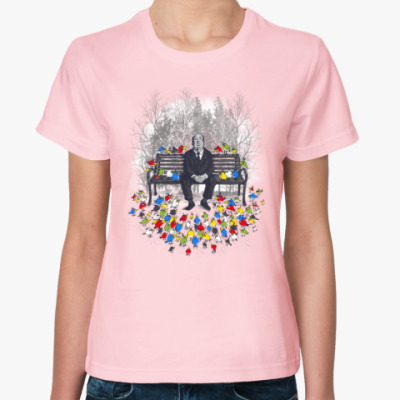 Женская футболка Альфред Хичкок - птицы