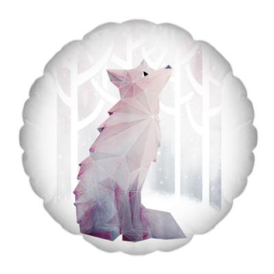 Подушка Зимний Лис в снегу Winter fox