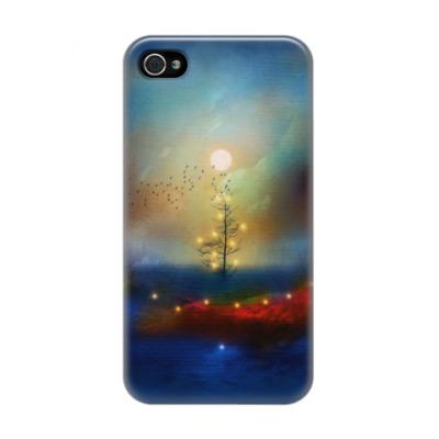 Чехол для iPhone 4/4s Новогодний пейзаж с елкой