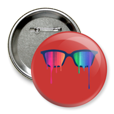 Значок 75мм Хипстер: очки