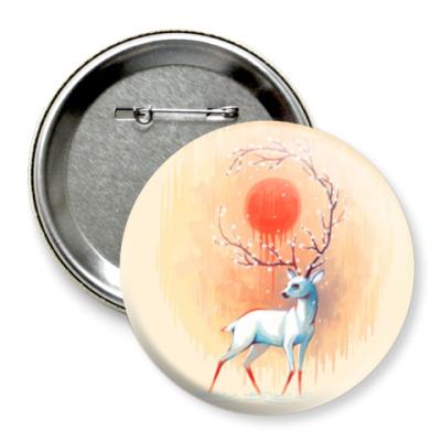 Значок 75мм Дух весны белый олень