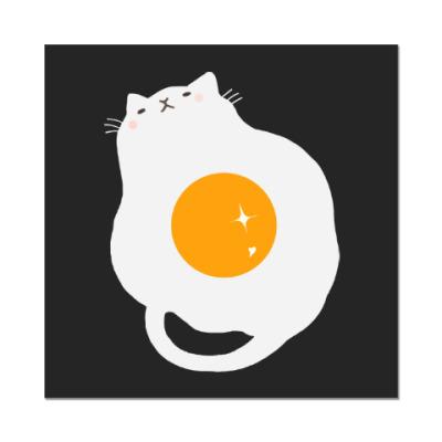 Наклейка (стикер) Кот-яичница