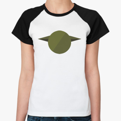 Женская футболка реглан Магистр Йода (Yoda) минимализм