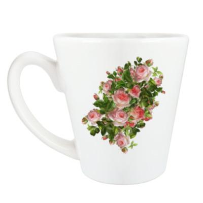 Чашка Латте Розовый букет