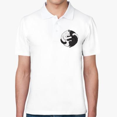 Рубашка поло Черный и белый кот инь-ян