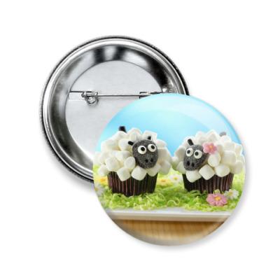 Значок 50мм Пироженные с овечками