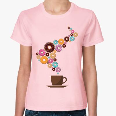 Женская футболка Кофе с пончиками