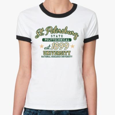 Женская футболка Ringer-T СПбГПУ