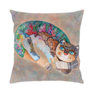 Подушка цветочный кот