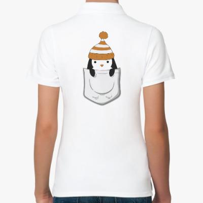 Женская рубашка поло Пингвин в кармашке