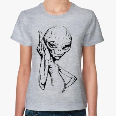 Женская футболка смешной пришелец (funny alien)
