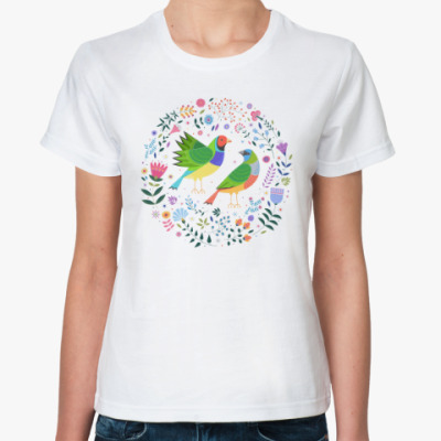 Классическая футболка Разноцветные птички среди цветов