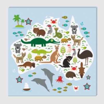 Холст Карта Австралии с животными