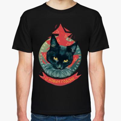Футболка Новогодний черный кот