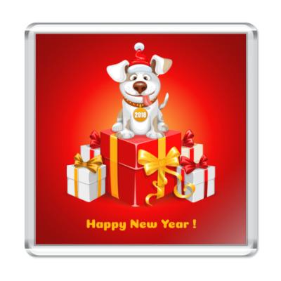 Магнит Новогодний символ 2018 года собака