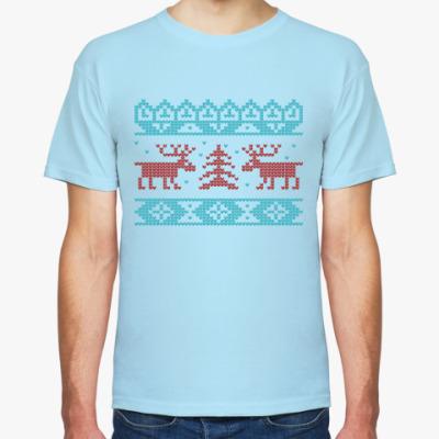 Футболка Олени. Deers. Knitt. Зима.