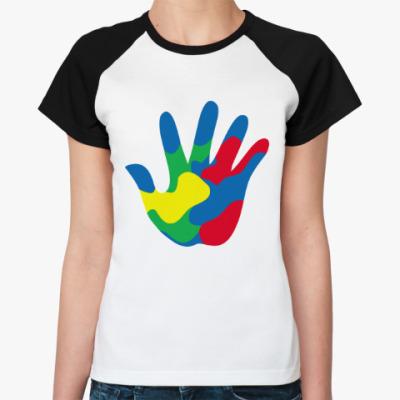 Женская футболка реглан Отпечаток Руки