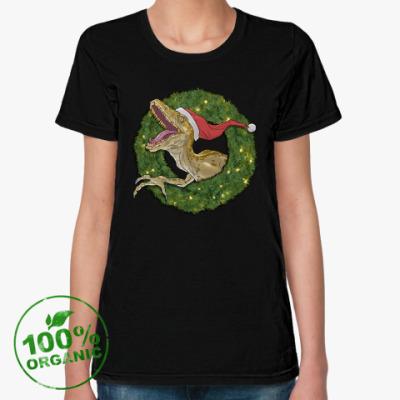 Женская футболка из органик-хлопка Новогодний велоцираптор