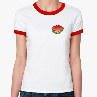Женская футболка Ringer-T Маленький кусочек арбуза
