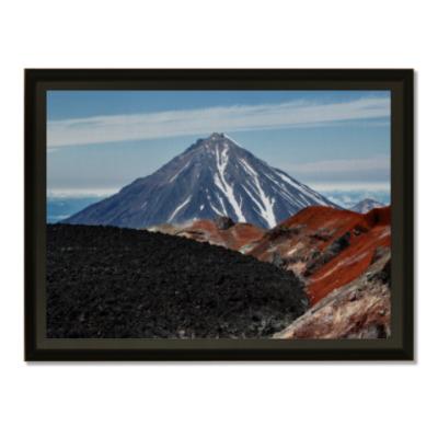 Плакетка Вулканы, летний пейзаж полуострова Камчатка
