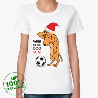 Женская футболка из органик-хлопка Символ 2018 года желтая земляная собака